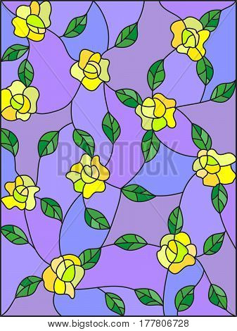 Illustration in the style of stained glass with intertwined yellow roses and leaves on a purple background