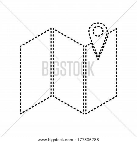 Pin on the map. Vector. Black dashed icon on white background. Isolated.
