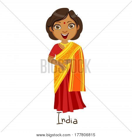 Girl In India Country National Clothes, Wearing Sari Dress Traditional For The Nation. Kid In Indian Costume Representing Nationality Cute Vector Illustration.