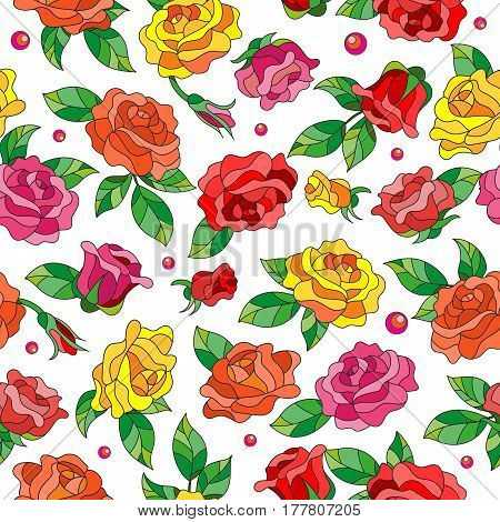 Seamless pattern with spring flowers in stained glass style flowers buds and leaves of multi colored roses on a light background