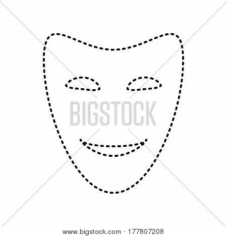 Comedy theatrical masks. Vector. Black dashed icon on white background. Isolated.