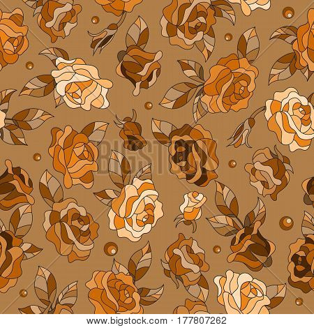 Seamless pattern with spring flowers in stained glass style flowers buds and leaves of roses brown tone Sepia