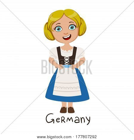 Girl In Germany Country National Clothes, Wearing Blue Skirt And Corset Traditional For The Nation. Kid In German Costume Representing Nationality Cute Vector Illustration.