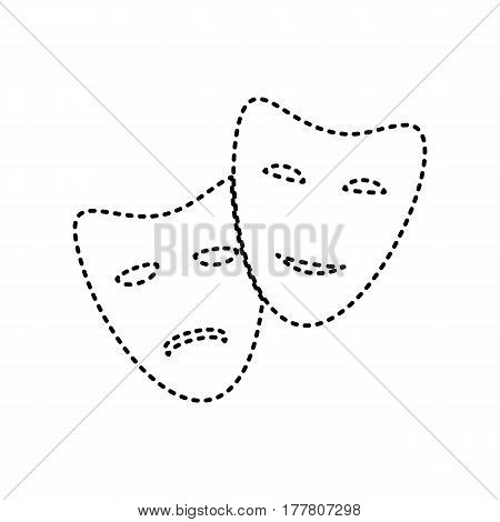 Theater icon with happy and sad masks. Vector. Black dashed icon on white background. Isolated.