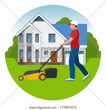 Man mowing the lawn with yellow lawn mower in summertime. Lawn grass service concept. Flat vector illustration.