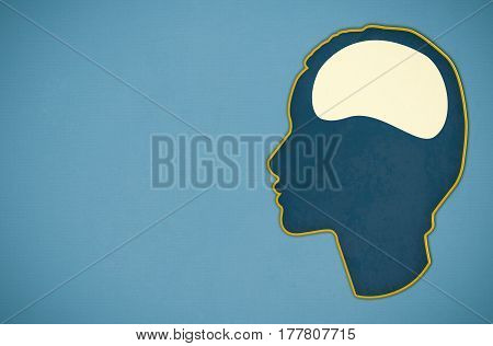 illustration of one brain on blue background