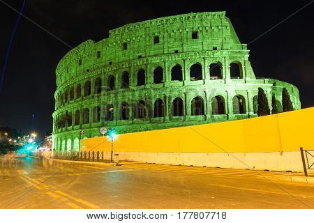 colored green colosseum in Rome of Italy