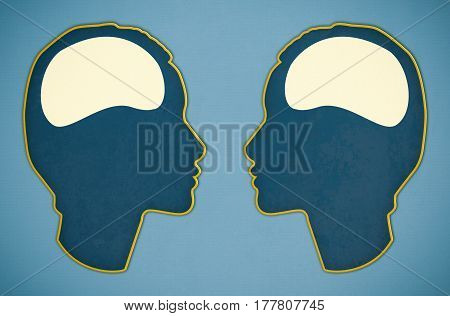 illustration of two brains on blue background