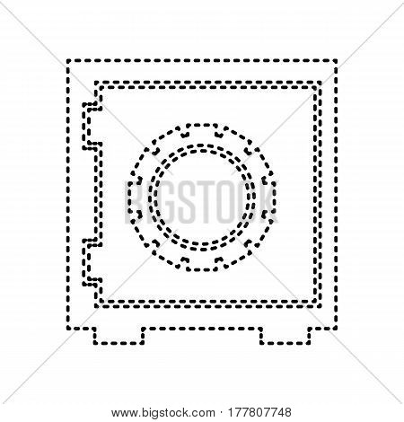 Safe sign illustration. Vector. Black dashed icon on white background. Isolated.