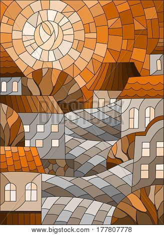 Illustration in stained glass style urban landscaperoofs and trees against the day sky and sunSepiatone brown