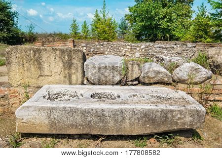 Ruins and old marble at the Archaeological Park of Dion. Pieria Macedonia Greece