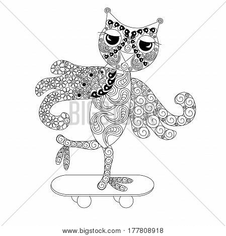 Stylized monochrome owl on skateboard, doodle style anti stress stock vector illustration