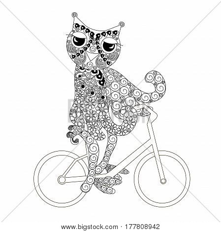 Stylized monochrome owl on bicycle doodle style anti stress stock vector illustration