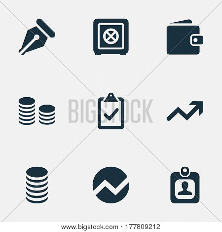 Vector Illustration Set Of Simple Banking Icons. Elements Supervision List, Increase, Rate And Other Synonyms Locked, Supervision And Profit.