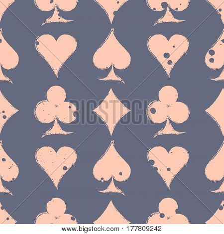 Vector Seamless Grunge Pattern. Grungy Graphic Illustration Of Sign Of Playing Card With Ink Blot, B