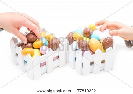 Child Stealing Easter Eggs