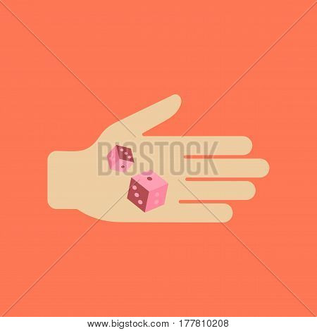 flat icon on stylish background poker dices in hand