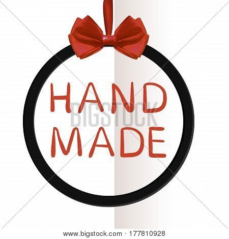 'Hand made' VECTOR hand written text in frame with realistic red silk bow