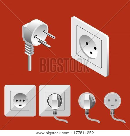 Illustration Isometric Electric Switches And Sockets Set On Red Background