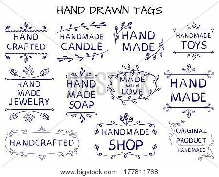 VECTOR set of handdrawn 'HAND MADE' tag templates isolated on white