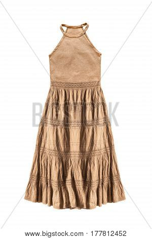 Yellow ethnic halter sundress isolated over white