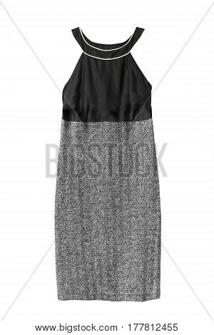 Combined halter dress with tweed skirt on white background
