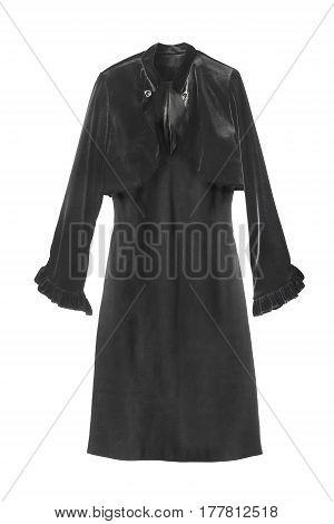 Black dress with velvet jacket isolated over white