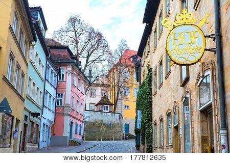 Bamberg, Germany - February 19, 2017: Bamberg city center street view