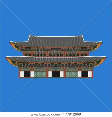 Gyeongbokgung South Korea country design flat cartoon elements. Travel landmark Seoul tourism place. World vacation travel city sightseeing Asia building collection. Asian architecture isolated.