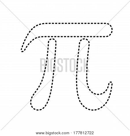 Pi greek letter sign. Vector. Black dashed icon on white background. Isolated.