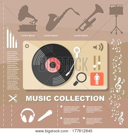Illustration Music Collection Infographic Elements On Flat Design