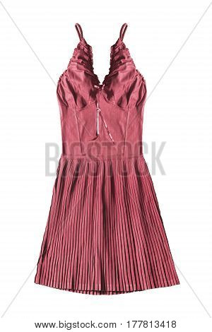 Red sundress with pleated skirt on white background