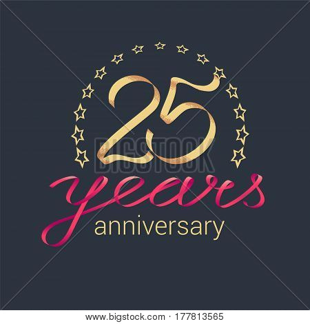 25 years anniversary vector icon logo. Graphic design element with golden realistic ribbon curls for decoration for 25th anniversary