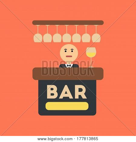 flat icon on stylish background icon poker bar bartender