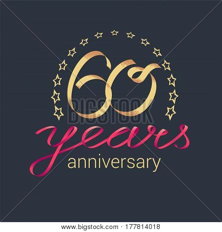 60 years anniversary vector icon logo. Graphic design element with golden realistic ribbon curls for decoration for 60th anniversary