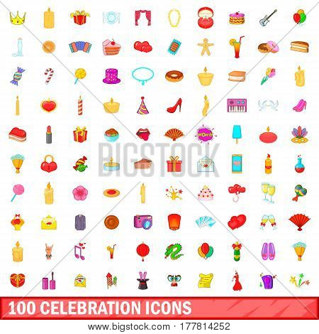 100 celebration icons set in cartoon style for any design vector illustration