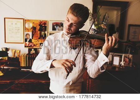 Handsome Man Plays A Violin Standing In A Room