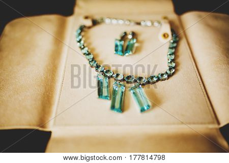 Beautiful Necklace With Blue Jewels And Earrings Lie On Leather Cover