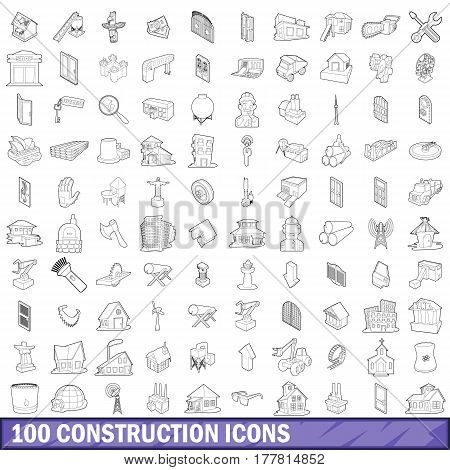 100 construction icons set in outline style for any design vector illustration