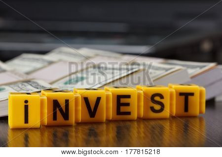 Concept Investments, Word Made By Letter, Stack Of Dollar Bills