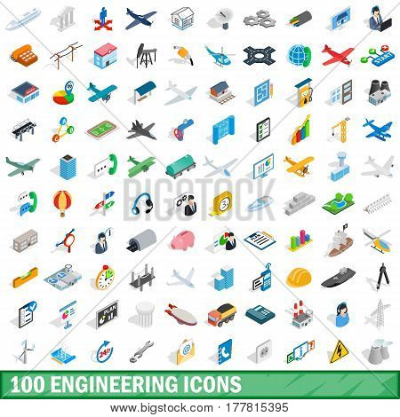 100 engineering icons set in isometric 3d style for any design vector illustration