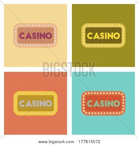 assembly of flat icons poker casino sign