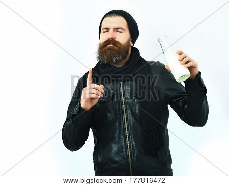 Bearded Brutal Caucasian Hipster Holding Glass Jar Of Milk