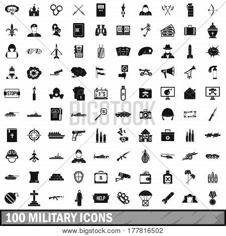 100 military icons set in simple style for any design vector illustration