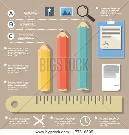 Illustration pencils pie charts student's infographics design elements on flat design
