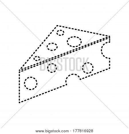 Cheese Maasdam sign. Vector. Black dashed icon on white background. Isolated.