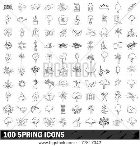 100 spring set in outline style for any design vector illustration