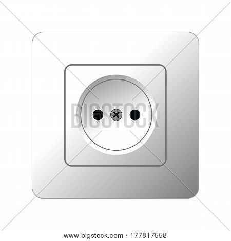 Illustration Realistic Electric Outlet, Power Socket, Outlet Power On White Background