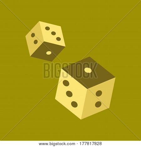 flat icon on stylish background poker dice lucky