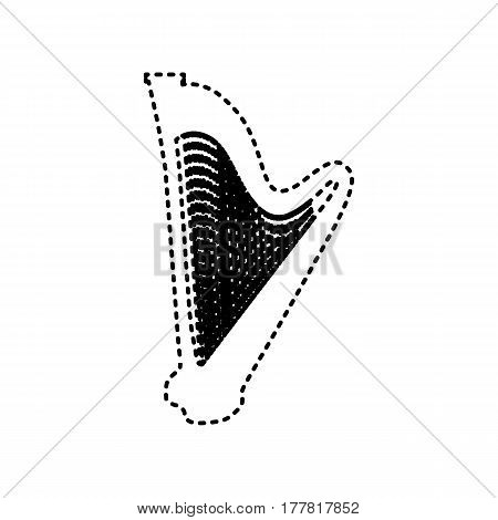 Musical instrument harp sign. Vector. Black dashed icon on white background. Isolated.